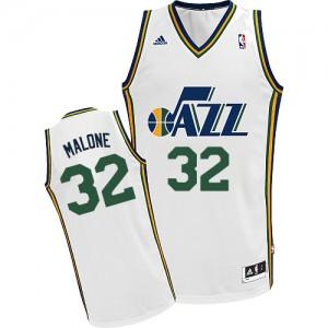 Utah Jazz #32 Adidas Home Blanc Swingman Maillot d'équipe de NBA Discount - Karl Malone pour Homme
