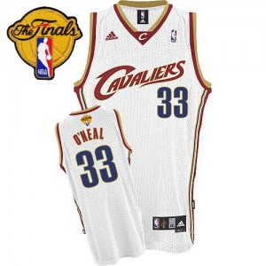 Maillot NBA Cleveland Cavaliers #33 Shaquille O'Neal Blanc Adidas Swingman Throwback 2015 The Finals Patch - Homme