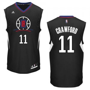 Maillot NBA Los Angeles Clippers #11 Jamal Crawford Noir Adidas Authentic Alternate - Homme
