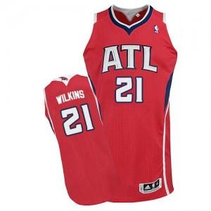 Atlanta Hawks #21 Adidas Alternate Rouge Authentic Maillot d'équipe de NBA pas cher - Dominique Wilkins pour Homme