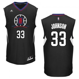 Maillot NBA Noir Wesley Johnson #33 Los Angeles Clippers Alternate Authentic Homme Adidas