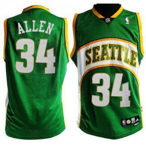 Oklahoma City Thunder #34 Adidas Seattle SuperSonics Style Vert Authentic Maillot d'équipe de NBA Braderie - Ray Allen pour Homme