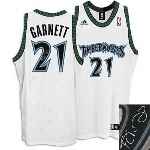 Maillot NBA Minnesota Timberwolves #21 Kevin Garnett Blanc Adidas Authentic Augotraphed - Homme