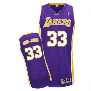 Maillot Authentic Los Angeles Lakers NBA Road Violet - #33 Kareem Abdul-Jabbar - Homme