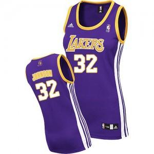 Los Angeles Lakers #32 Adidas Road Violet Authentic Maillot d'équipe de NBA la vente - Magic Johnson pour Femme