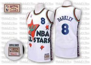 Maillot NBA Phoenix Suns #8 Charles Barkley Blanc Adidas Authentic Throwback 1995 All Star - Homme