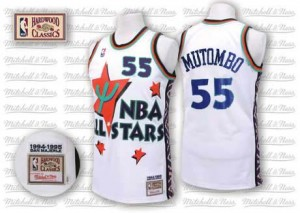Maillot NBA Authentic Dikembe Mutombo #55 Denver Nuggets Throwback 1995 All Star Blanc - Homme