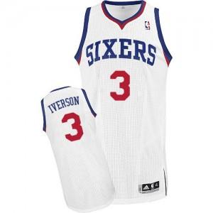 Philadelphia 76ers #3 Adidas Home Blanc Authentic Maillot d'équipe de NBA magasin d'usine - Allen Iverson pour Homme