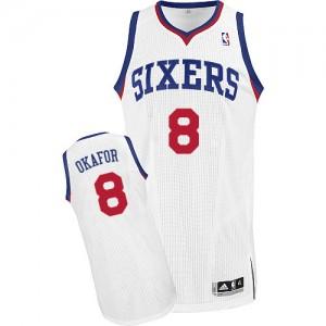 Maillot Adidas Blanc Home Authentic Philadelphia 76ers - Jahlil Okafor #8 - Homme