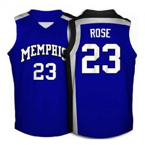 Maillot NBA Chicago Bulls #23 Derrick Rose Bleu Nike Authentic Memphis Tigers High School Throwback - Homme