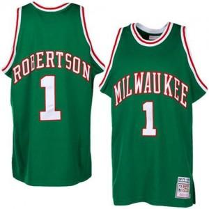 Maillot NBA Vert Oscar Robertson #1 Milwaukee Bucks Throwback Authentic Homme Adidas