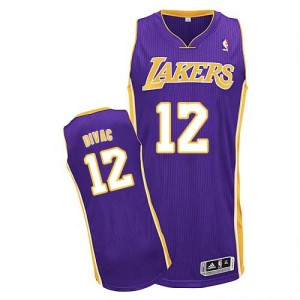 Maillot Adidas Violet Road Authentic Los Angeles Lakers - Vlade Divac #12 - Homme