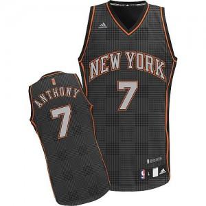 Maillot NBA New York Knicks #7 Carmelo Anthony Noir Adidas Swingman Rhythm Fashion - Homme