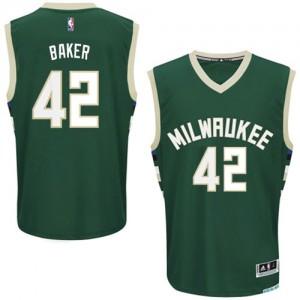 Maillot NBA Vert Vin Baker #42 Milwaukee Bucks Road Authentic Homme Adidas