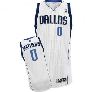 Dallas Mavericks Wesley Matthews #0 Home Authentic Maillot d'équipe de NBA - Blanc pour Homme