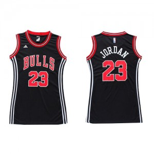 Maillot NBA Chicago Bulls #23 Michael Jordan Noir Adidas Authentic Dress - Femme