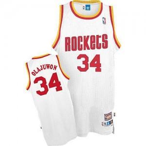 Houston Rockets Mitchell and Ness Hakeem Olajuwon #34 Throwback Authentic Maillot d'équipe de NBA - Blanc pour Homme