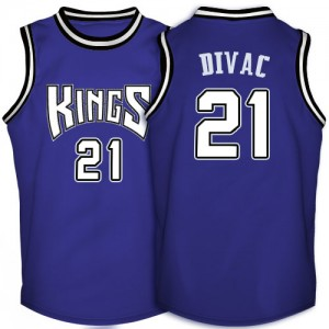 Maillot NBA Violet Vlade Divac #21 Sacramento Kings Throwback Authentic Homme Adidas