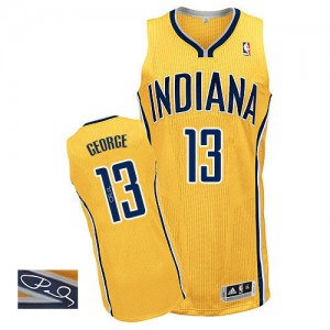 Maillot NBA Indiana Pacers #13 Paul George Or Adidas Authentic Alternate Autographed - Homme