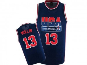 Maillot NBA Bleu marin Chris Mullin #13 Team USA 2012 Olympic Retro Authentic Homme Nike