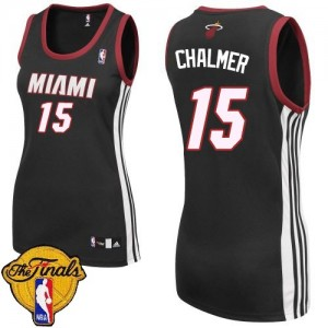 Maillot Adidas Noir Road Finals Patch Swingman Miami Heat - Mario Chalmer #15 - Femme
