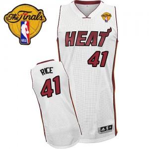 Miami Heat #41 Adidas Home Finals Patch Blanc Authentic Maillot d'équipe de NBA Braderie - Glen Rice pour Homme