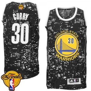 Golden State Warriors Stephen Curry #30 City Light 2015 The Finals Patch Authentic Maillot d'équipe de NBA - Noir pour Homme