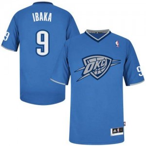 Maillot Adidas Bleu 2013 Christmas Day Authentic Oklahoma City Thunder - Serge Ibaka #9 - Homme