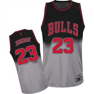 Maillot Adidas Gris noir Fadeaway Fashion Authentic Chicago Bulls - Michael Jordan #23 - Homme