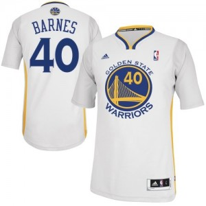Maillot NBA Golden State Warriors #40 Harrison Barnes Blanc Adidas Swingman Alternate - Homme