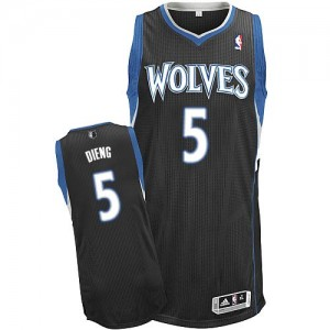 Maillot Adidas Noir Alternate Authentic Minnesota Timberwolves - Gorgui Dieng #5 - Homme