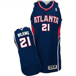 Atlanta Hawks #21 Adidas Road Bleu marin Authentic Maillot d'équipe de NBA Braderie - Dominique Wilkins pour Homme