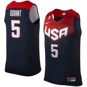 Team USA Nike Kevin Durant #5 2014 Dream Team Authentic Maillot d'équipe de NBA - Bleu marin pour Homme