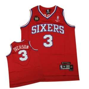 Philadelphia 76ers #3 Throwback 10TH Rouge Swingman Maillot d'équipe de NBA en vente en ligne - Allen Iverson pour Homme
