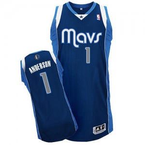 Maillot Adidas Bleu marin Alternate Authentic Dallas Mavericks - Justin Anderson #1 - Homme
