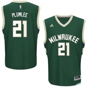 Maillot NBA Milwaukee Bucks #21 Miles Plumlee Vert Adidas Swingman Road - Homme