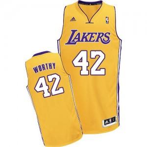 Los Angeles Lakers #42 Adidas Home Or Swingman Maillot d'équipe de NBA Vente - James Worthy pour Homme