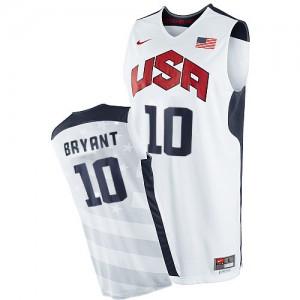 Maillot NBA Blanc Kobe Bryant #10 Team USA 2012 Olympics Authentic Homme Nike