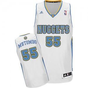 Maillot NBA Swingman Dikembe Mutombo #55 Denver Nuggets Home Blanc - Homme