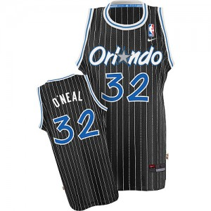 Maillot NBA Noir Shaquille O'Neal #32 Orlando Magic Throwback Authentic Homme Nike