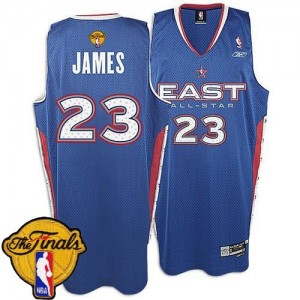 Cleveland Cavaliers LeBron James #23 2005 All Star 2015 The Finals Patch Authentic Maillot d'équipe de NBA - Bleu pour Homme