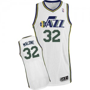 Maillot NBA Blanc Karl Malone #32 Utah Jazz Home Authentic Homme Adidas