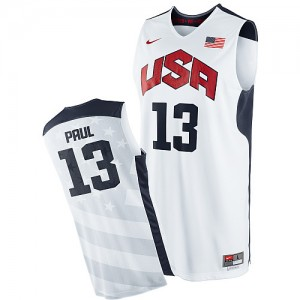 Maillot NBA Blanc Chris Paul #13 Team USA 2012 Olympics Swingman Homme Nike