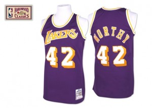 Los Angeles Lakers #42 Mitchell and Ness Throwback Violet Authentic Maillot d'équipe de NBA Vente - James Worthy pour Homme