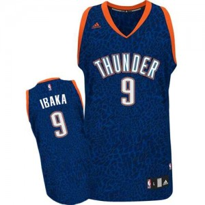 Maillot Adidas Bleu Crazy Light Authentic Oklahoma City Thunder - Serge Ibaka #9 - Homme
