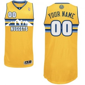 Maillot NBA Or Authentic Personnalisé Denver Nuggets Alternate Homme Adidas