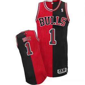 Maillot NBA Noir Rouge Derrick Rose #1 Chicago Bulls Split Fashion Authentic Homme Adidas