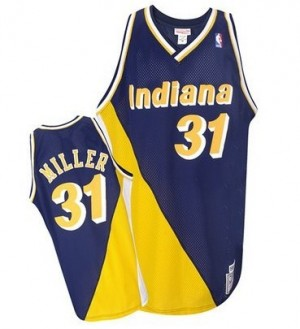 Indiana Pacers #31 Mitchell and Ness Throwback Marine / Or Authentic Maillot d'équipe de NBA Braderie - Reggie Miller pour Homme