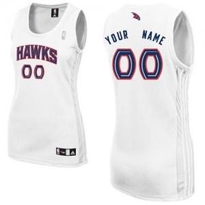 Atlanta Hawks Authentic Personnalisé Home Maillot d'équipe de NBA - Blanc pour Femme