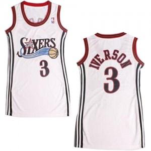 Maillot Authentic Philadelphia 76ers NBA Dress Blanc - #3 Allen Iverson - Femme